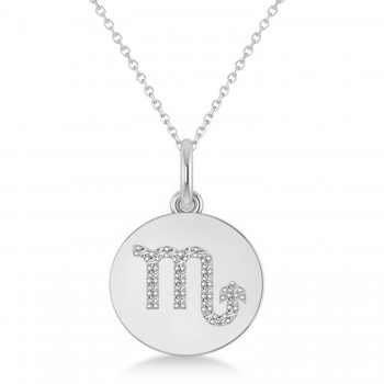 Diamond Scorpio Zodiac Disk Pendant Necklace 14k White Gold (0.11ct)