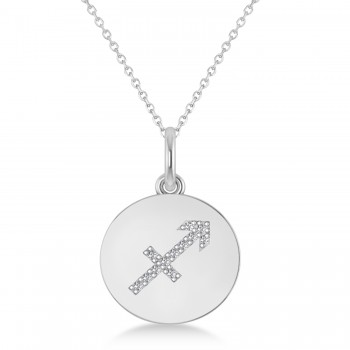 Diamond Sagittarius Zodiac Disk Pendant Necklace 14k White Gold (0.06ct)