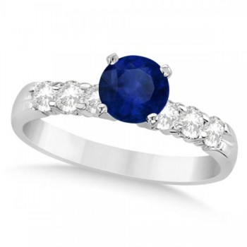 Blue Sapphire and Diamond Engagement Ring in 14k White Gold 1.30ct