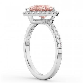 Custom-Made Pear Cut Halo Morganite & Diamond Engagement Ring 14K White Gold 2.51ct