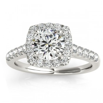 Custom-Made Halo Square Diamond Engagement Ring 14k White Gold (0.38ct)(Halo-Peridot and Diamond alternating)