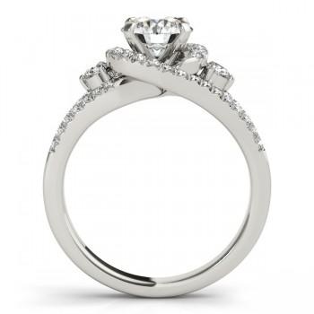 Custom-Made Split Shank Halo Diamond Engagement Ring Setting 14k Two Tone with citrines0.75ct