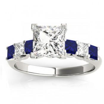 Custom-Made Princess cut Black Diamond & Blue Sapphire Bridal Set 14k White Gold 1.30ct