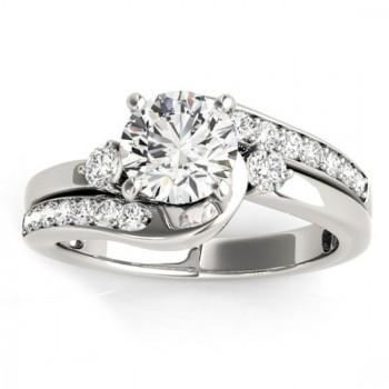 Custom-Made Swirl Design Diamond Engagement Ring Setting Platinum 0.38ct
