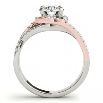 Custom-Made Twisted Three Row Halo Engagement Ring 18k Two Tone Rose Gold 0.38ct