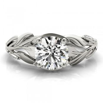 Custom-Made Nature-Inspired Diamond Engagement Ring Setting 14k White Gold (0.16ct)