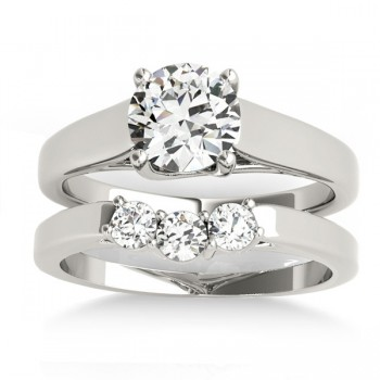 Custom-Made Lucida Solitaire Cathedral Bridal Set 14k White Gold (0.24ct)