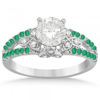 Custom-Made Custom-Made Diamond & Emerald Sidestone Celtic Engagement Ring Setting 14k White Gold (0.39ct)
