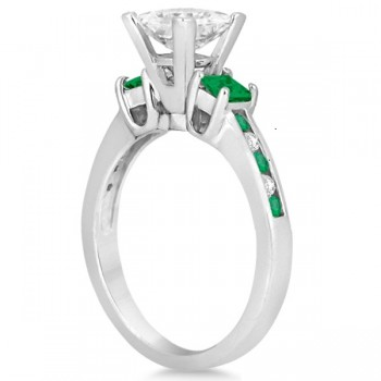 Custom-Made Emerald Three Stone Engagement Ring in Palladium and a Diamond Center Stone (Emerald Cut) (0.62ct)and a Script B on the Head (please see photo)
