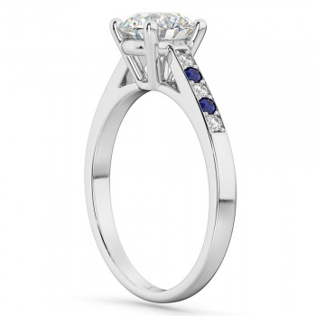 Custom-Made Cathedral Sapphire & Ruby Engagement Ring 14k White Gold (0.20ct)