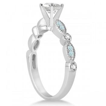 Custom-Made Marquise Aquamarine Diamond Engagement Ring 18k White Gold 0.24ct (Lower Profile Head)