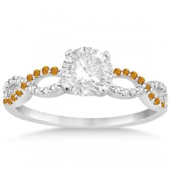 Custom-Made Infinity Amethyst & Citrine Engagement Ring Set 14k White Gold 0.34ct