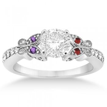 Custom-Made Butterfly Diamond & Amethyst & Citrine Engagement Ring 14k White Gold (0.20ct)