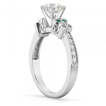 Custom-Made Butterfly Diamond & Emerald & Alexandrite  Engagement Ring 14k White Gold (0.20ct)