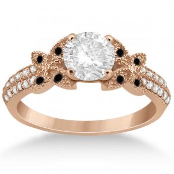 Custom-Made Diamond & Black Diamond Butterfly Engagement Ring 14K Rose Gold