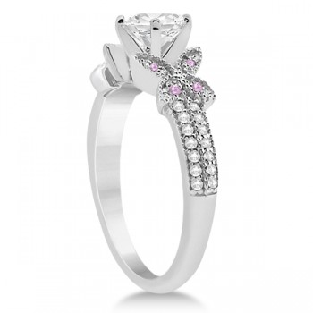 Custom-Made Diamond & Aquamarines Butterfly Engagement Ring 18K White Gold