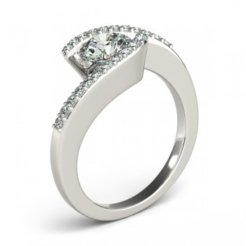 Custom-Made Diamond Accented Tension Set Engagement Ring Band 14k White Gold (0.17ct)