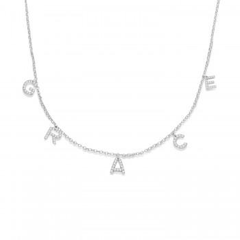 Petite Pave Diamond Multi Initial Pendant Necklace 14k White Gold