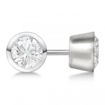 Round Diamond Stud Earrings Bezel Setting In 14K White Gold