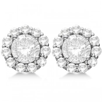 Round Diamond Stud Earrings Halo Setting In 14K White Gold