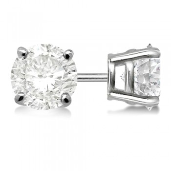 4-Prong Basket Round Diamond Stud Earrings