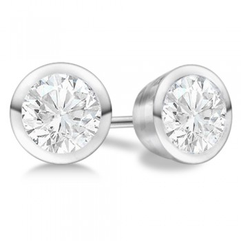 Bezel Set Round-Cut Lab Grown Diamond Stud Earrings