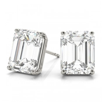 Emerald-Cut Diamond Stud Earrings