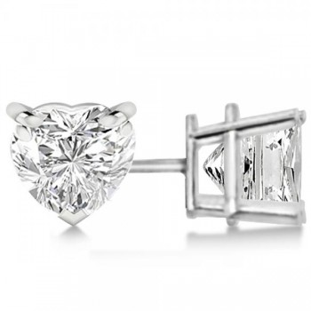 Heart-Cut Diamond Stud Earrings