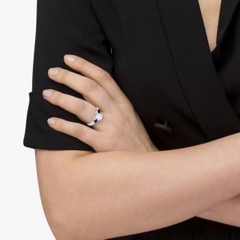 Pear Shape Three Stone Blue Sapphire Engagement Ring Platinum (0.50ct)