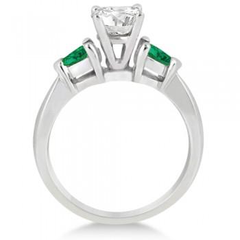 Pear Cut Three Stone Emerald Engagement Ring Palladium (0.50ct)