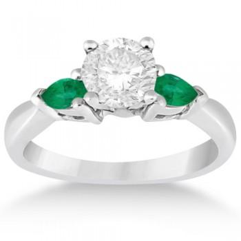 Pear Cut Three Stone Emerald Engagement Ring Platinum (0.50ct)