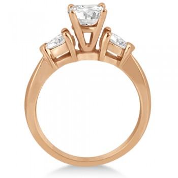 Three Stone Pear Shaped Lab Diamond Engagement Ring 18k Rose Gold (0.50ct)
