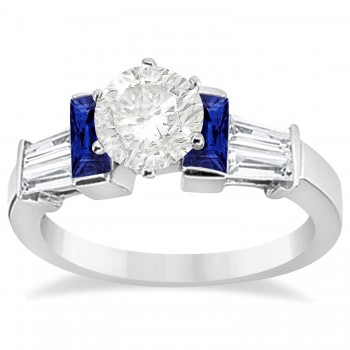 Baguette Blue Sapphire & Diamond Engagement Ring 14k White Gold 0.96ct