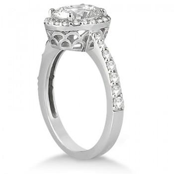 Oval Halo Diamond Engagement Ring Setting 18k White Gold (0.36ct)