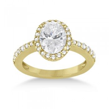 Oval Halo Diamond Engagement Ring Setting 18k Yellow Gold (0.36ct)