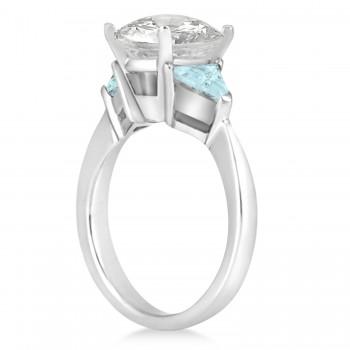 Aquamarine Three Stone Trilliant Engagement Ring 18k White Gold (0.70ct)