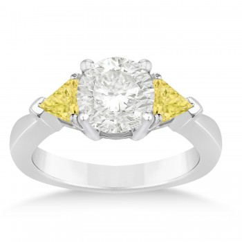 Yellow Diamond Three Stone Trilliant Engagement Ring 14k White Gold (0.70ct)