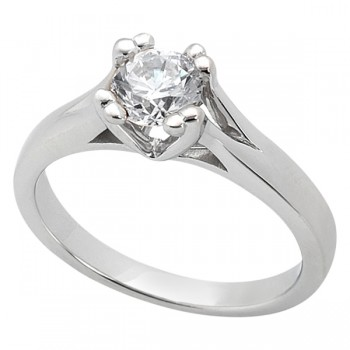 Double Prong Trellis Engagement Ring Setting in Platinum