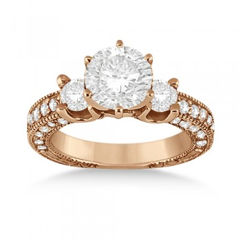 Vintage Three-Stone Diamond Engagement Ring 14k Rose Gold (1.00ct)