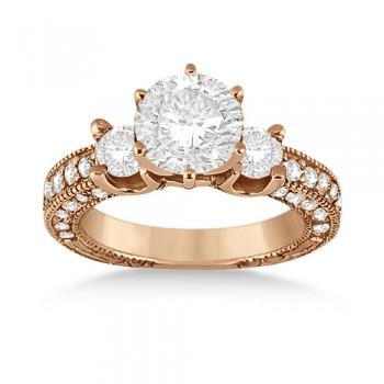 Vintage Three-Stone Diamond Engagement Ring 18k Rose Gold (1.00ct)