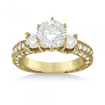Vintage Three-Stone Diamond Engagement Ring 18k Yellow Gold (1.00ct)