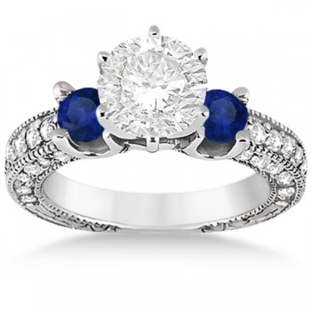 Blue Sapphire & Diamond 3-Stone Engagement Ring 14k White Gold 1.06ct