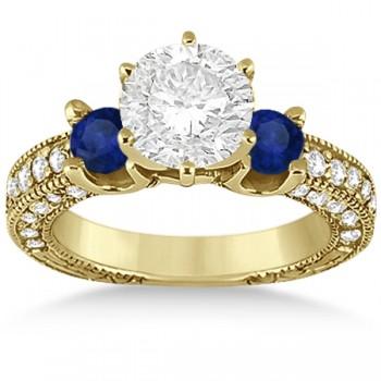 Blue Sapphire & Diamond 3-Stone Engagement Ring 14k Yellow Gold 1.06ct