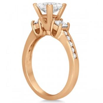 Round & Princess Cut 3 Stone Diamond Engagement Ring 14k R. Gold 0.50ct