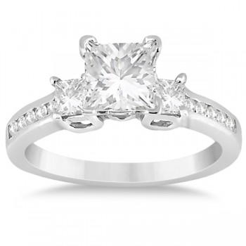 Round & Princess Cut 3 Stone Diamond Engagement Ring 14k W. Gold 0.50ct