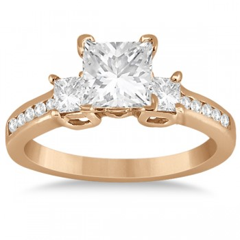 Round & Princess Cut 3 Stone Diamond Engagement Ring 18k R. Gold 0.50ct
