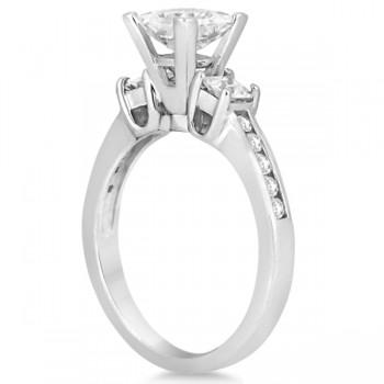 Round & Princess Cut 3 Stone Diamond Engagement Ring Platinum 0.50ct