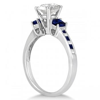 Princess Cut Diamond & Sapphire Engagement Ring 14k White Gold (0.68ct)