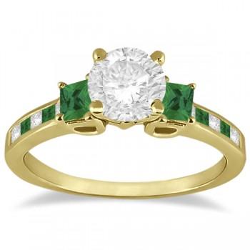 Princess Cut Diamond & Emerald Engagement Ring 14k Yellow Gold (0.68ct)