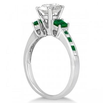 Princess Cut Diamond & Emerald Engagement Ring 18k White Gold (0.68ct)